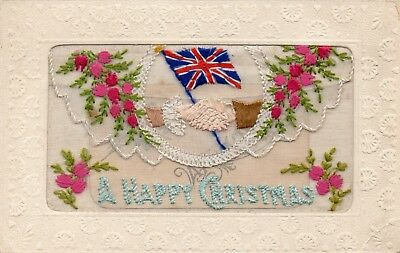 Clasped Hands: A Happy Christmas: Ww1 Embroidered Patriotic Silk Postcard