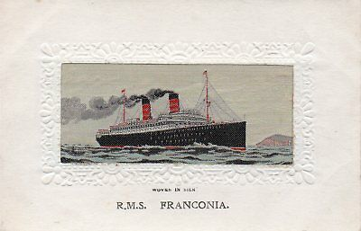 Rms Franconia: Woven Steamship: Greetings Silk Postcard