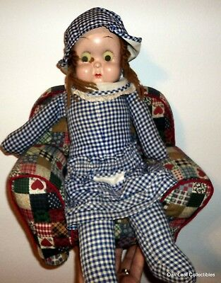 """Vintage Bisque & Cloth Doll GOOGLY Glass Eyes 20"""" with chair"""