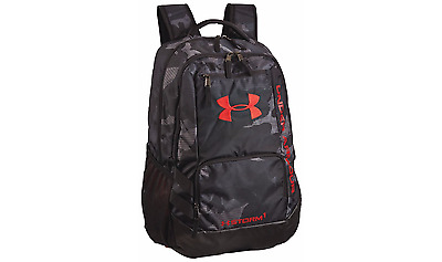Under Armour Storm Hustle II Backpack Durable School Casual Sports Black/Red New