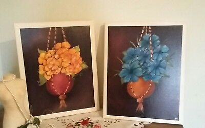 2 x Delightful Original Signed Oil On Canvas Painting Still Life  Flowers .