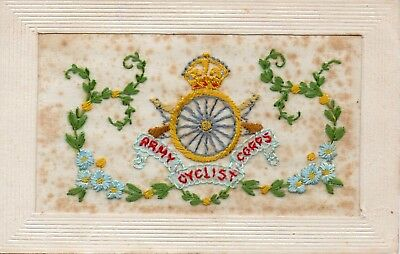 Army Cyclist Corps: Military Badge: Ww1 Embroidered Silk Postcard
