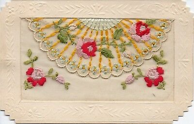Pretty Flowers: Ww1 Embroidered Silk Postcard