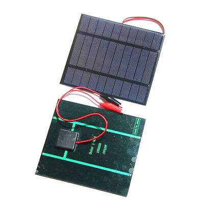 FP 2.5W 5V Solar Cell Polycrystalline Solar Panel+Crocodile Clip For Charging 3.