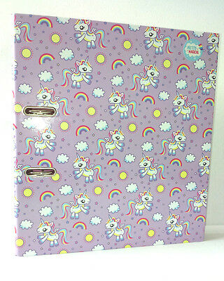 Unicorns A4 LEVER ARCH FILE FOLDER Lavender Pink Rainbow HOME STUDENT FILING Kid