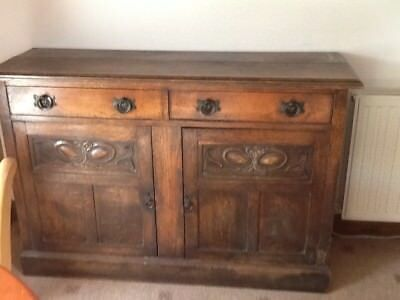 Antique dresser base in dark wood, with 2 drawers and 2 cupboards