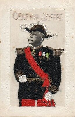 Rare: General Joffre: Portrait: Ww1 Embroidered Patriotic Silk Postcard