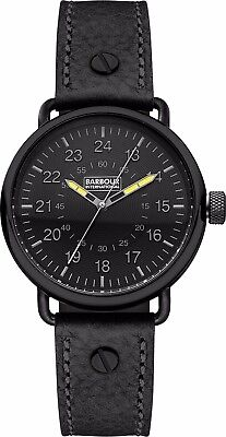 Barbour BB022BKBK Mens International Fowler Black Leather Strap Watch