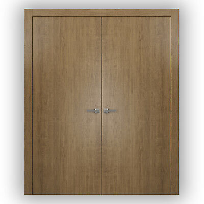 Planum 0010 Interior Double Doors Smoky Walnut with trims, frame, NO Pre-drilled