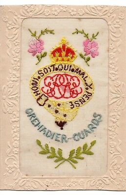 Grenadier Guards: Military Badge: Ww1 Embroidered Silk Postcard