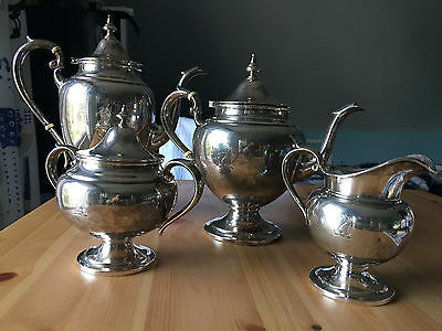 A Four Piece Gorham Sterling SIlver Puritan Style Tea and Coffee Service
