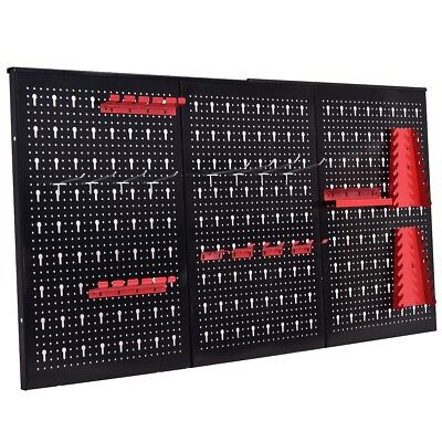 "24"" x 48"" Metal Pegboard Garage Kit Tool Board Holder Hooks Storage Organizer US"