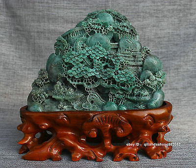China 100% Dushan Green jade carved Jade Tree sculpture with certificate