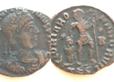 VALENTINIAN II 375-392 AD AE VF Emperor Dragging Captive Ancient Roman Coin