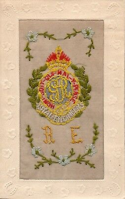 Royal Engineers: Military Badge: Ww1 Embroidered Silk Postcard