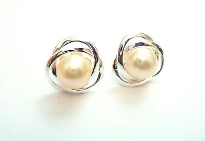 925 STERLING SILVER - Beautiful Pearl Classic Stuc Earrings - Wedding/Occasion