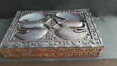 Antique Chinese Carved Wooden Box With Bats on lid -  Early 20th C.