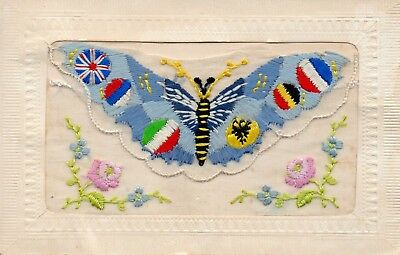 Patriotic Butterfly: Ww1 Embroidered Silk Postcard