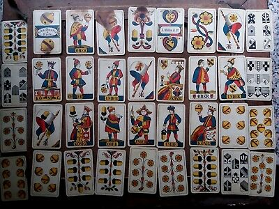 Rare C1895 Antique Set 36 Swiss J Muller Fortune Telling Playing Cards  19Th C