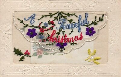 A Peaceful Christmas: Ww1 Embroidered Patriotic Silk Postcard