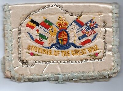 Padded Silk Pouch: Souvenir Of The Great War: Ww1 Embroidered