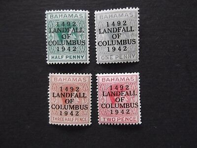 Bahamas - George VI 1942 Columbus Overprints Mounted Mint Up To One Shilling