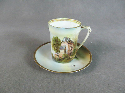 "RS GERMANY ""Castle"" Scene DEMITASSE CUP & Saucer"