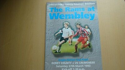 DERBY COUNTY V US CREMONESE MAR 1993 (Anglo-Italian Cup Final)