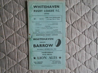 Whitehaven V Barrow Rugby League Match Programme October 1948