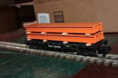 Handmade S gauge flat car load 1 stack of girders for 40' car (load only)