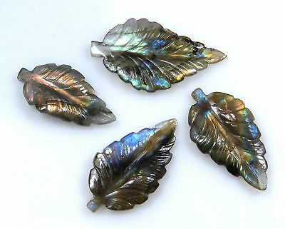 51.7 Cts Natural Labradorite Carved Leaf Multi Fire Handmade Carving 4 Pcs Lot