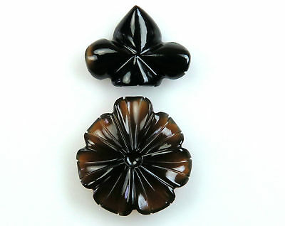 44.7 CTS Smoky Onyx Carved Flower Design mix Shape HandCrafted Carving 2 Pcs Lot