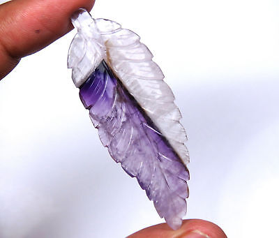 34.6 Cts Natural Brazil Amethyst Carved leaf Purple 60.5x21mm HandCraft Carving