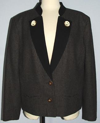 W Germany Vintage Original Distler Trachten Wool Check Jacket Blazer 40 M Antler