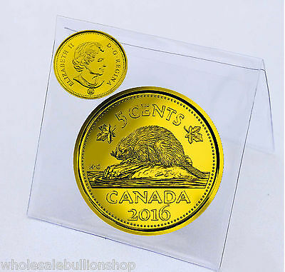 2016 Canadian 5 Cents Gilded 24k