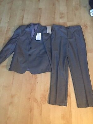 Bnwt M&s Boys 2 Piece Grey Tailored Fit Suit Age 11-12