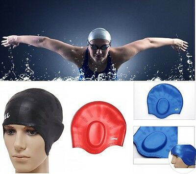 Adult Moulded Silicone Swimming Cap With Ear Pockets Long Hair - Black Red Blue