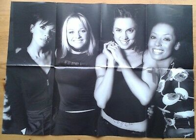 Spice Girls Fan Club fold out double sided poster, black and white girls & red