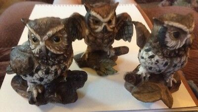 Awesome Owls, Ceramic & Glass  Owl Statues 3 Pieces