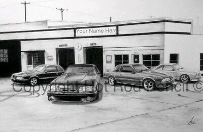 Ford Mustang Fox Body  PERSONALIZED garage art print