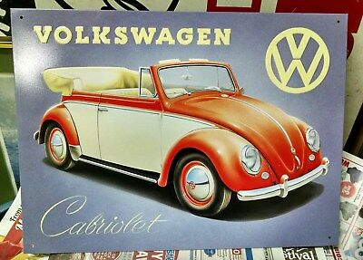 VOLKSWAGEN Cabriolet Convertible BEETLE VW LOGO - OLD Tin Sign Repro
