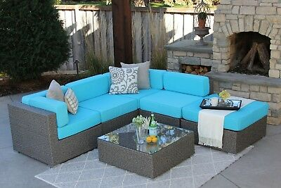 6 Piece Gray Wicker Outdoor Patio Sectional Set Halsted New