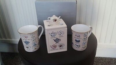Tea for Two from Ringtons Porcelain Mugs and small Tea Caddy with Tea Sachets