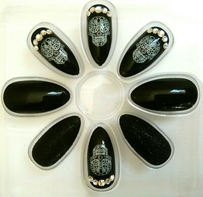 Day Of The Dead Skulls Gems Spooky Halloween False Fake Nails Kit Set Party 24pc
