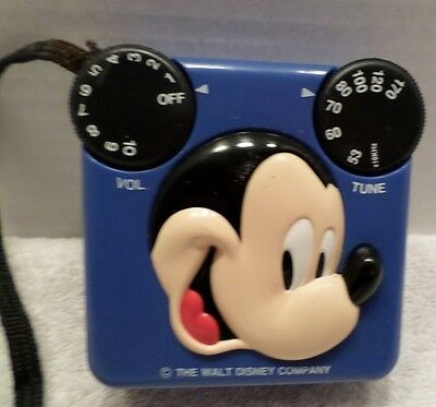 Mickey Mouse Walt Disney Blue AM Transistor Radio -Radio Shack 12-909 Works
