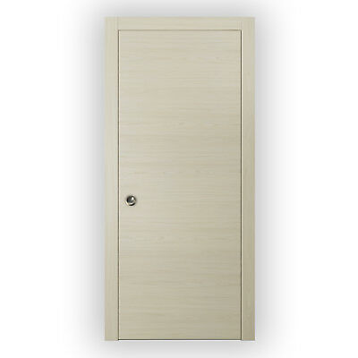 Planum 0010 Interior Pocket Sliding Door Milk Ash with Casings, Frames, Pulls