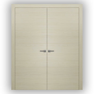 Planum 0010 Interior Double Doors Milk Ash with trims, frame, NO Pre-drilled