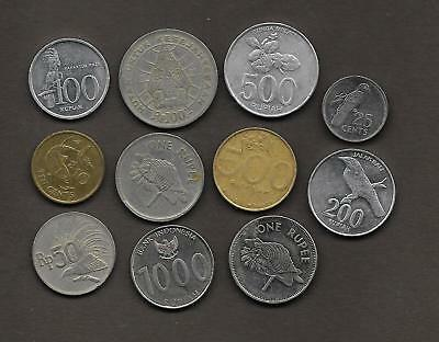 SEYCHELLES + INDONESIA  Lote de 11 monedas  /   LOT  11  Coins
