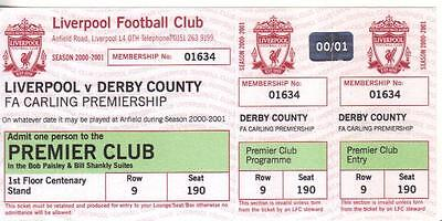 2000/01    Liverpool    v    Derby County    Complete - Unused - Perfect