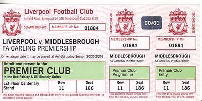 2000/01    Liverpool    v    Middlesbrough    Complete - Unused - Perfect